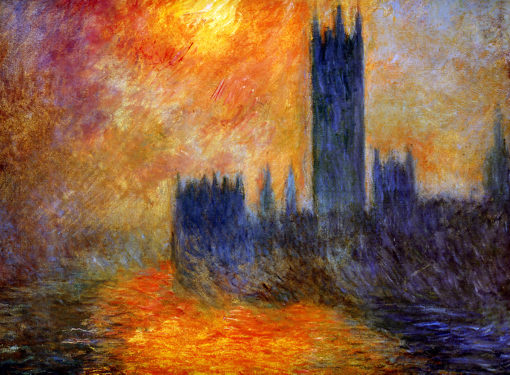 Claude Monet. House of parliament in the sun